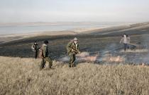 Степной пожар на оз . Иткуль 2008 год