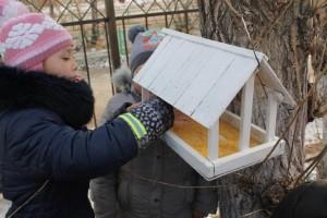 Ученики наполняют кормушки кормом для зимующих птиц