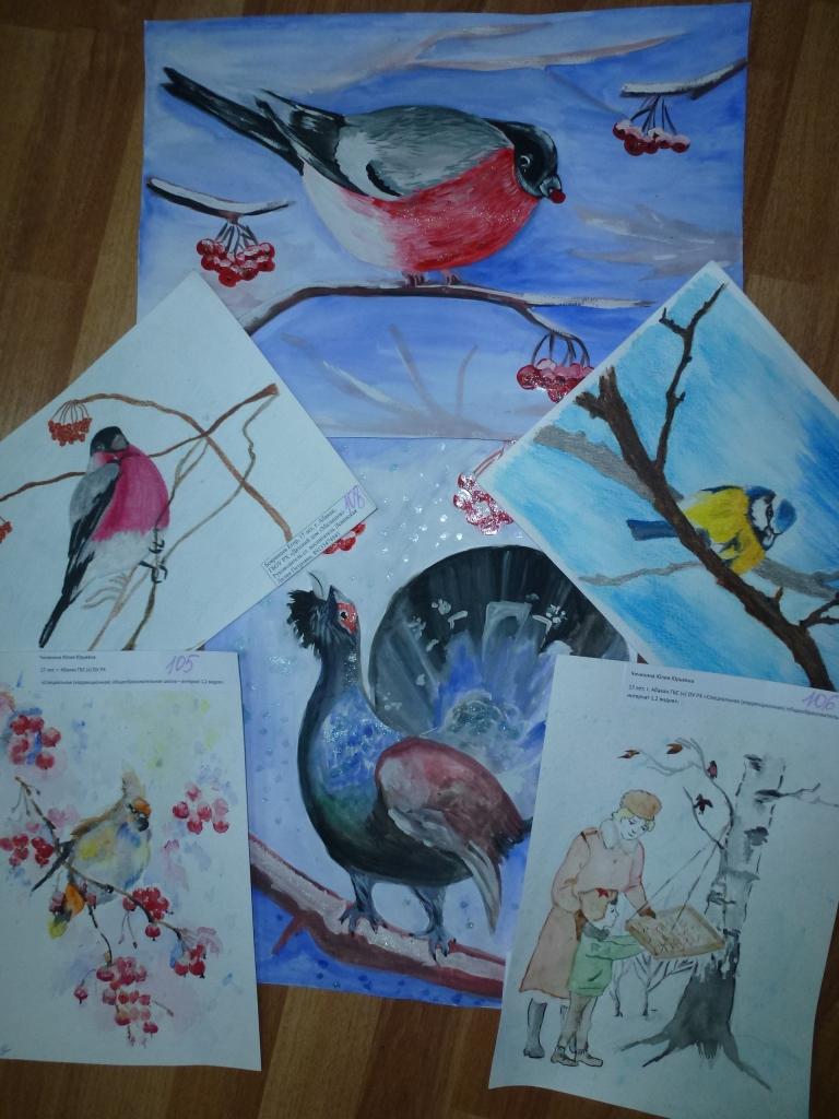 рисунки на тему зимующие птицы она