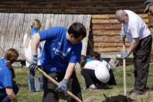 Волонтеры экомарафона высаживают саженцы деревьев и кустарников