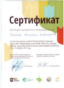 Сертификат об участии в семинаре В. В .Шуркиной