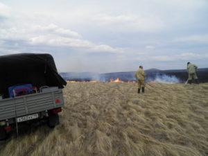 """Госинспекторы заповедника """"Хакасский"""" потушили степной пожар"""